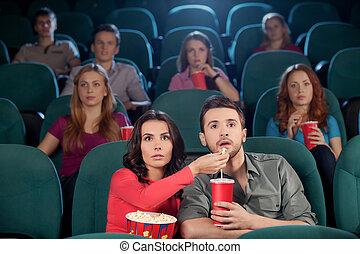 grand, alimentation, cinéma, film, couple, regarder, jeune, quoique, movie!, autre