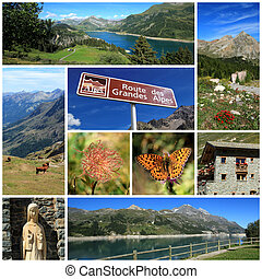 grand, alpes, route, collage