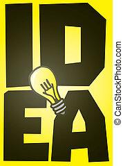 grand, ampoule, lumière, idée, brillant