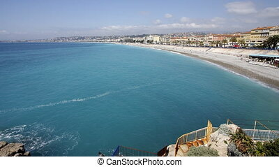grand-angulaire, plage, france, mer, gentil, coup, sud