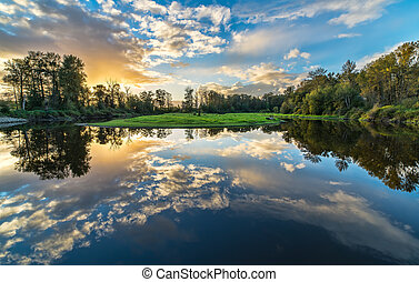 grand-angulaire, rivière, nuages, reflet
