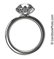 grand, anneau, diamant