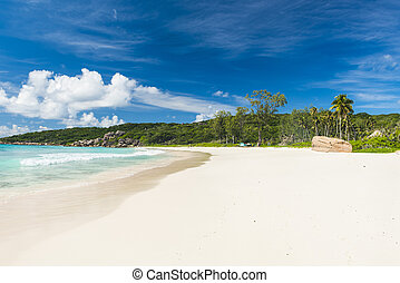 Grand Anse beach - Beautifully shaped granite boulders and a...