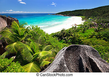 Grand Anse on La Digue island in Seychelles - Aerial view of...