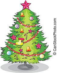 grand arbre, décorations noël, beaucoup