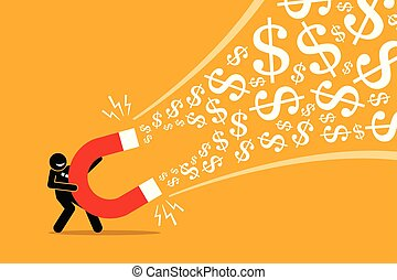 grand, argent., aimant, utilisation, homme affaires, attirer