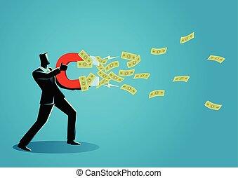 grand, argent, attracts, aimant, utilisation, homme affaires