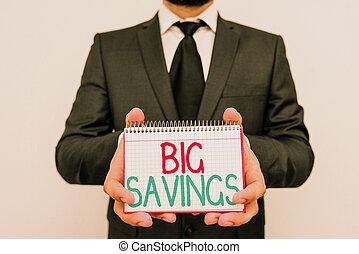 grand, aside., épuisé, mettre, business, main, ou, photo, projection, conceptuel, pas, consommation, revenu, showcasing, deferred, argent, savings., écriture