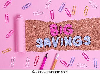 grand, aside., épuisé, mettre, business, ou, photo, projection, note, pas, consommation, revenu, showcasing, deferred, argent, savings., écriture