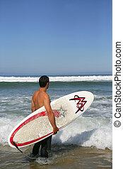 grand, attente, surfeur, vague