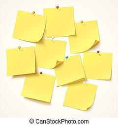 grand, autocollant, bouton-poussoir, jaune, goupillé, collection, coin, prêt, message, ton, frisé