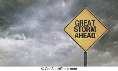 grand, avertissement, orage, devant, signe