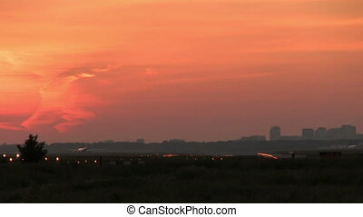 grand, avion, coucher soleil, atterrissage