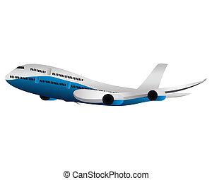 grand, avion passager