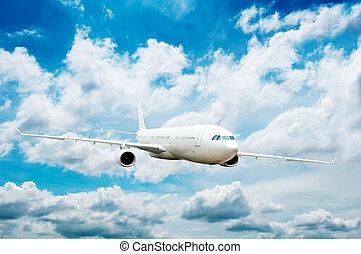 grand, avion, passager