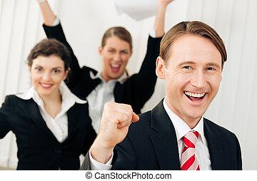 grand, avoir, reussite, bureau, businesspeople