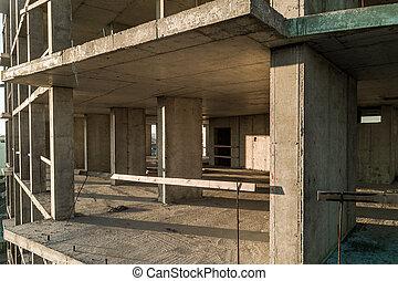 grand bâtiment, city., construction, béton, vue, sous, appartement, aérien, cadre