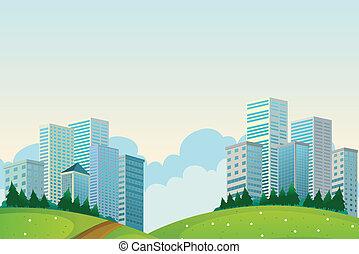 grand, bâtiments, collines