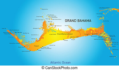 Grand Bahama vector color map