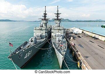 grand, bataille, bateau, base, naval