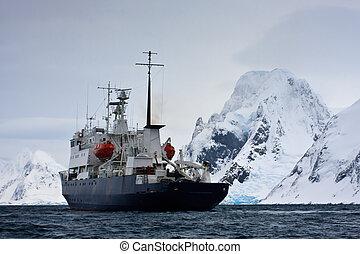 grand, bateau, antarctique