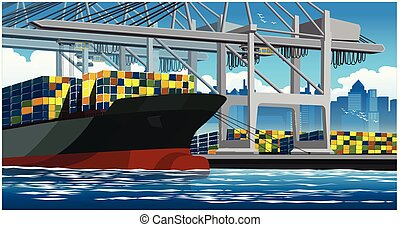 grand, bateau, chargement, récipient, récipients