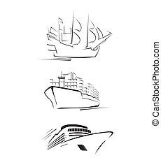 grand, bateau, ensemble, collection