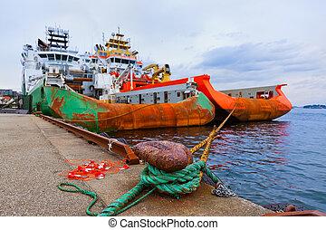 grand, bateau industriel, dans, stavanger, port, -, norvège
