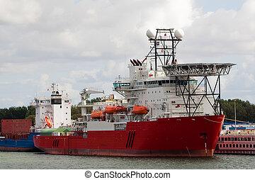 grand, bateau, industriel, port
