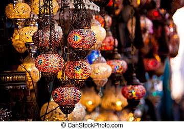 Grand Bazaar in Istanbul, Turkey - lamps for sale on Grand ...