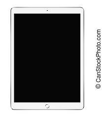 grand, blanc, pc tablette, isolé, blanc, fond