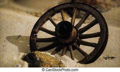 grand, bois, sable, roue