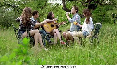 grand, boissons, guitare, avoir, temps, boire, amis, jouer