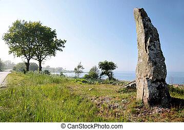 grand, bornholm, monolithe, côte