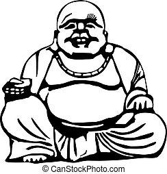 grand bouddha, ventre, heureux