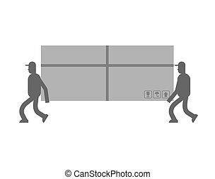 grand, box., service., déménageurs, illustration, chargeur, livraison, vecteur, en mouvement, holding., porter, déménageur, concierges, homme