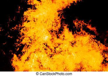 grand, brûler, flamme, fond