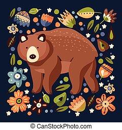 grand, brun, bear., grisonnant