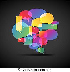 grand, bulle discours, -, icône, pour, social, média