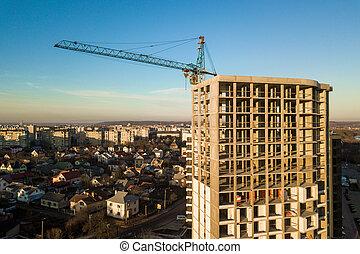 grand, c, bâtiment, béton, vue, sous, appartement, aérien, cadre