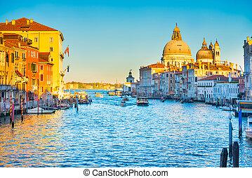 Grand Canal and Basilica Santa Maria della Salute - Sunset ...