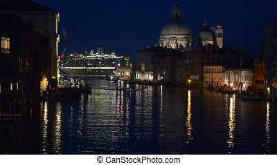 Grand Canal at night - Grand Canal in Venice, Italy at night