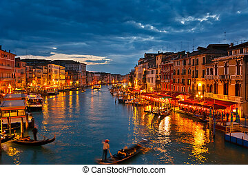 Grand Canal at night, Venice