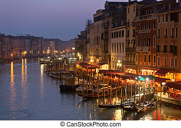 Grand Canal at Night, Venice.