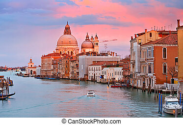 Grand Canal at sunset - Grand Canal in Venice, Italy