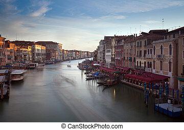 Grand canal at sunset, Venice, Veneto, Italy, Europe