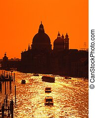 Grand canal at sunset, Venice.