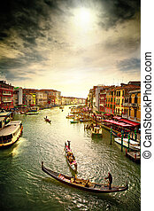 Grand Canal. - Boats and gondolas on the Grand Canal of ...