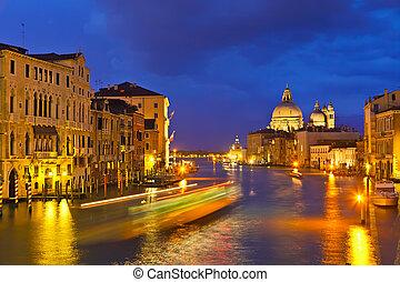 grand canal, hos, aftenen, venedig