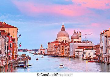 grand canal, hos, solnedgang, venedig